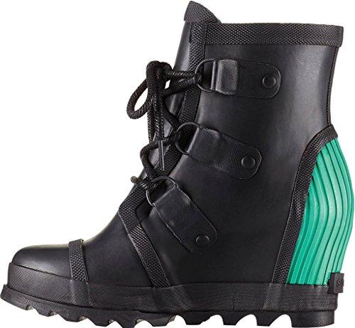 Sorel Womens Joan Rain Wedge Booties Black / Bright Emerald bdoKzx11
