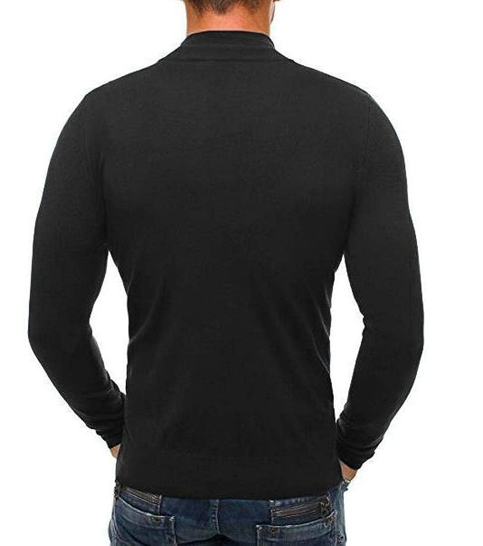 Cromoncent Mens Solid Color Turtle Neck Zipper Classic Jumper Slim Knit Sweaters