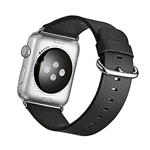 For Apple Watch Band, 42mm Ankaitong Clemence Genuine Leather iwatch Strap Replacement Band with Stainless Metal Clasp for Apple Watch Series 3 Series 2 Series 1 Sport and Edition(Brown) (Black)