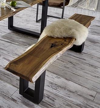 SAM® massive Sitzbank, Holzbank aus Akazie, aus echter Baumkante ...