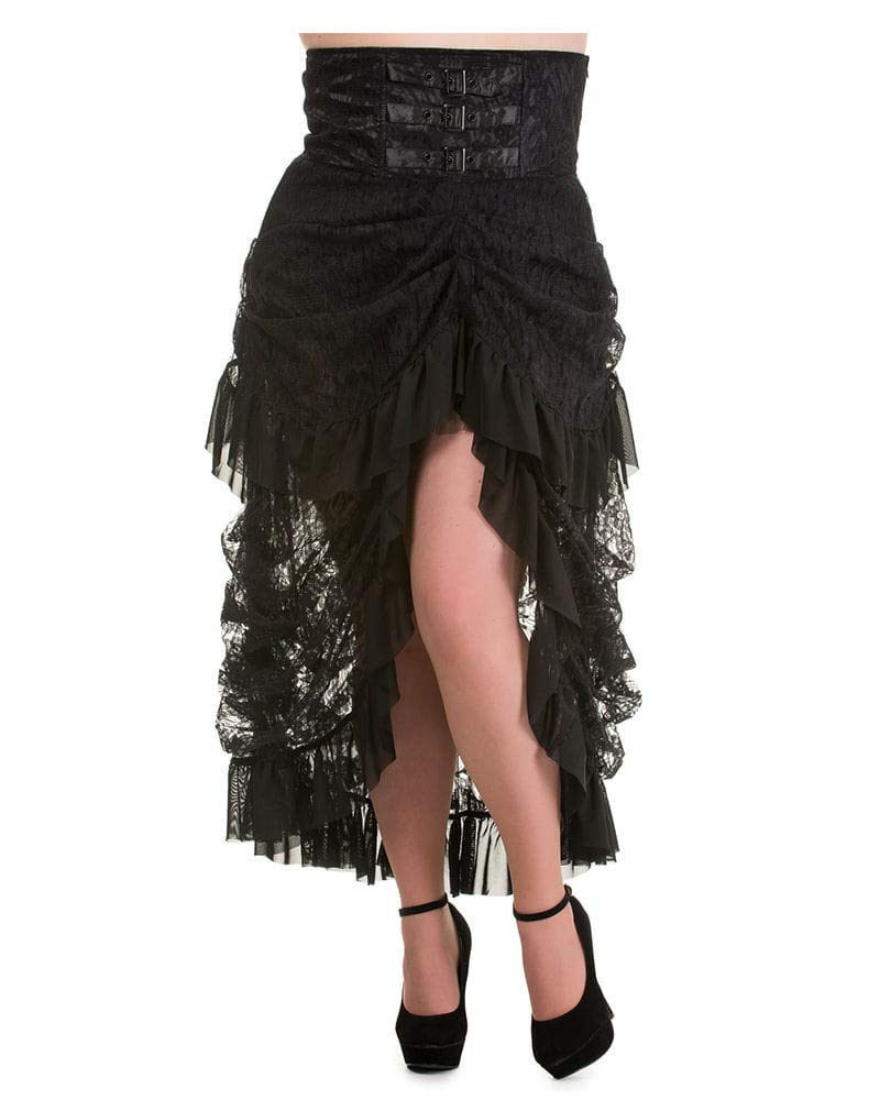 S HorrorShop Taffeta skirt with lace black S