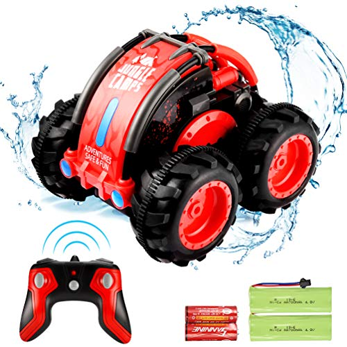 allcaca Auto RC Car 2.4Ghz 4WD Remote Control Car Monster Truck Off-Road Vehicle 1:24 Scale 360 Degree Water and Land RC Stunt Car Buggy Hobbies Toy for Kids & Adults,Red