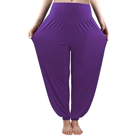 Yopin Pantalones de Yoga para Mujer, Pantalones de Yoga, Pantalones de Yoga, Pantalones Largos, Morado, Medium