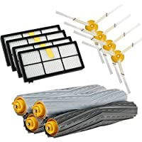 Replacement Parts for iRobot Roomba 980 880 870 800 Robotic Vacuum Cleaner ( 4pcs Hepa Filters, 4pcs Side Brushes, 2 set Tangle-Free Debris Extractor )