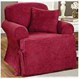 Sure Fit Soft Suede T-Cushion Chair Slipcover, Burgundy