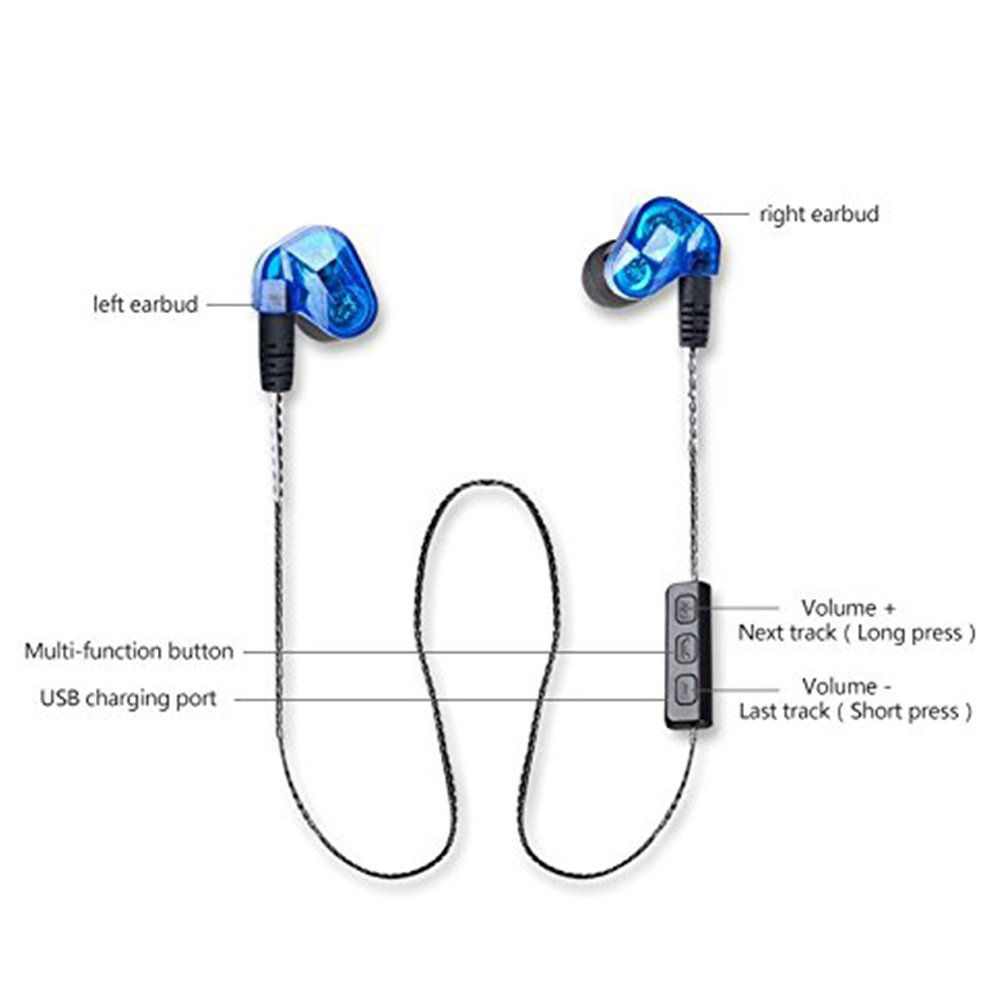 Moxpad X90 Hifi Wireless Bluetooth 41 Dual Driver In Ear Earphone Usb Headset With Microphone Wiring Diagram For Sport Running Studio Music Blue Cell Phones Accessories