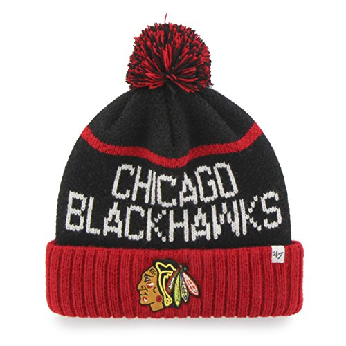 NHL Chicago Blackhawks '47 Linesman Cuff Knit Hat with Pom, One Size Fits Most, Black