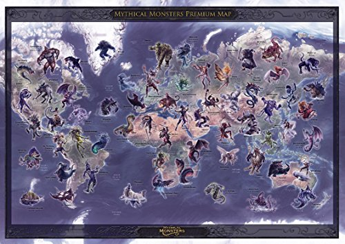 ed Mythical Monster Premium Wall Map - Poster - 23.5