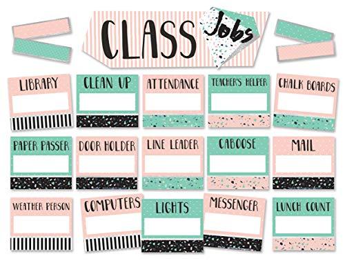Eureka Pink and Green Confetti Pattern Student Class Jobs Bulletin Board Set and Classroom Decorations for Teachers, - Job Confetti