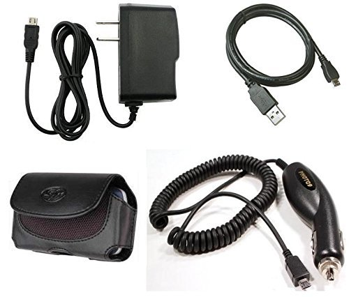 Fits Black PU Leather Pouch Case + Wall Charger + Car Charger + USB Cable for LG VX8500, VX8550 Chocolate 2, VX8560 Chocolate 3, VX8350, VX8360, VX8370 Clout, VX8610, Decoy VX9400