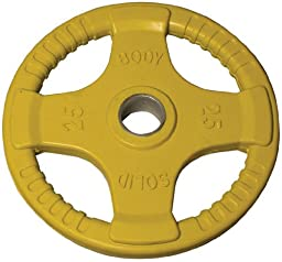 Body-Solid Colored Rubber Grip Olympic Plates (Yellow) - 25 lb pair