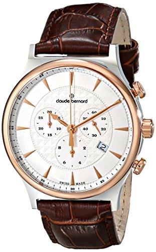 Claude Bernard Men's 10217 357R AIR Classic Dress Chronograph Analog Display Swiss Quartz Brown Watch