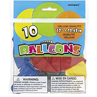 """Unique 12"""" Latex Balloons, Assorted Colors 10ct - 54503"""