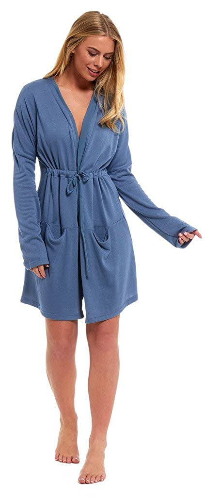 Ladies Loungewear Housecoat Dressing Gown Viscose Cardigan Blue ...