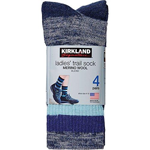 kirkland signature womens trail sock pack of 4 one size aqua
