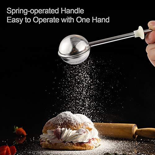 Didhand Powdered Sugar Shaker Duster Flour Sifter with Spring-operated Handle Dusting Wand for Baking,White