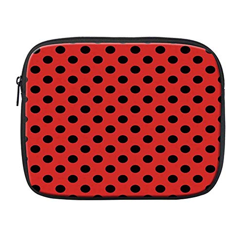 Red and Black Compatible with Nice iPad Bag,Retro Vintage Pop Art Theme Old 60s 50s Rocker Inspired Bold Polka Dots Image for Office,One Size -