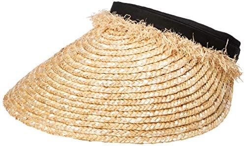 Under Zero Women's Summer Stretch Straw Visor Brown Sun Hat