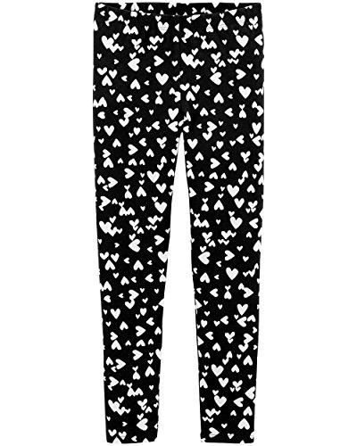 Osh Kosh Girls' Kids Full Length Legging, Black/White Heart 7 ()