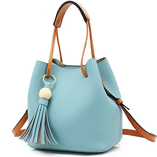 Turelifes Tassel buckets Totes Handbag Women's Hobos and Shoulder Bags Crossbody Bag 3 Back Method Blue