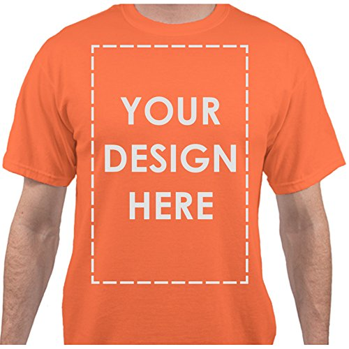 Add Your Own Custom Text Name Personalized Message Image Neon Orange T-Shirt - XLarge