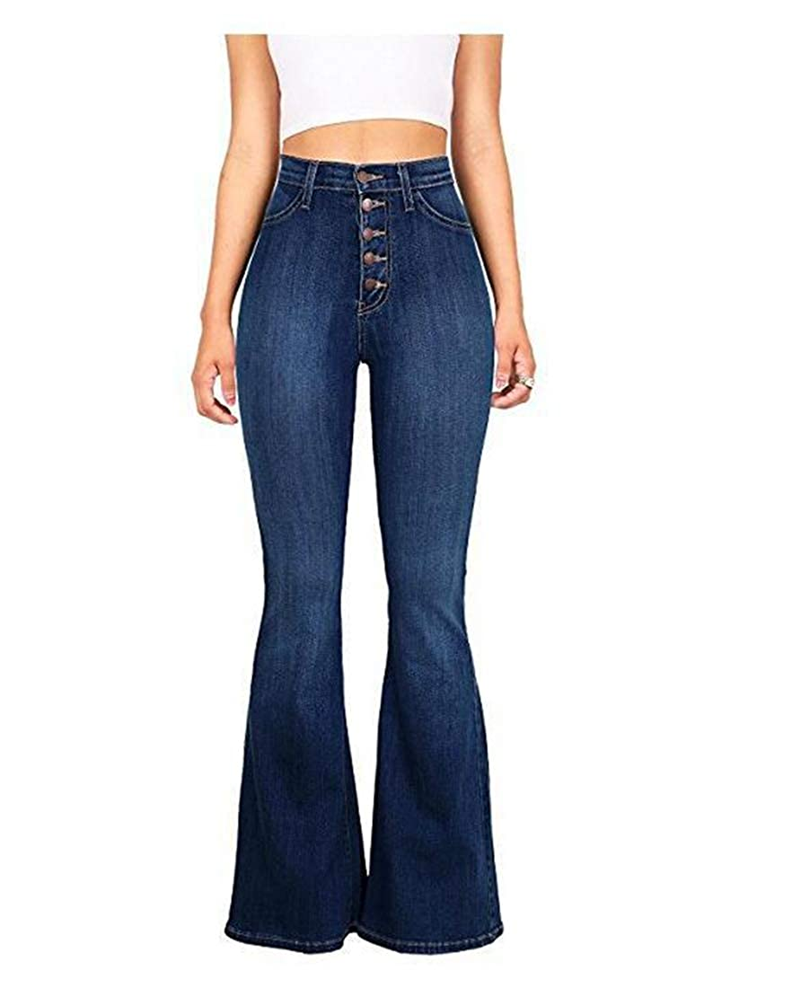 bluee 1 MISSKERVINFENDRIYUN YY4 Button Jeans, Women's HighWaisted Trousers, Thin, MicroHorn Jeans, Women