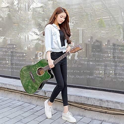 YJFENG アコースティックギター、 スプルース単板 選択された酒宴 厚手のバックパック チューナー 文字列 ガード ピック 教材 初心者ギター (Color : Green, Size : 105cm)