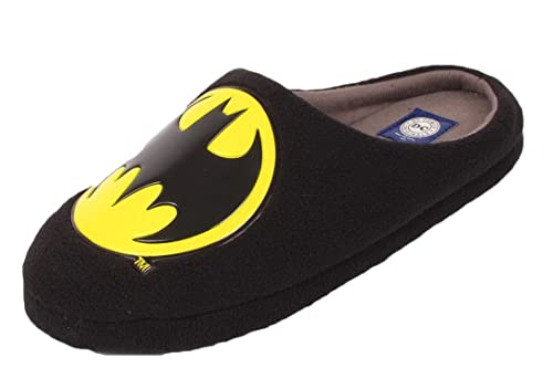 3ac3c708e597 Mens DC Comics Original Mule Slippers Novelty Batman Slip On Black sizes  7-12 (