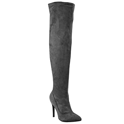 f2237ab8a6 Fashion Thirsty Womens Thigh High Over The Knee High Heel Stiletto Boots  Party Size 5