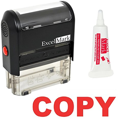 - ExcelMark Copy Self Inking Rubber Stamp - Red Ink with 5cc Refill Ink (Stamp Plus 5cc Refill Ink)