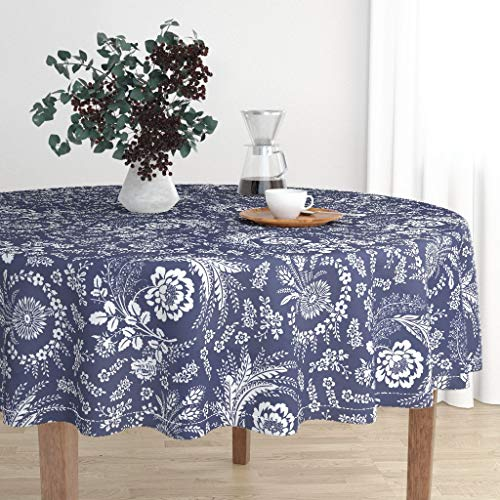 Roostery Round Tablecloth - Pysanky Folk Art Indigo European Ukrainian Flowers Floral by Lilyoake - Cotton Sateen Tablecloth 70in