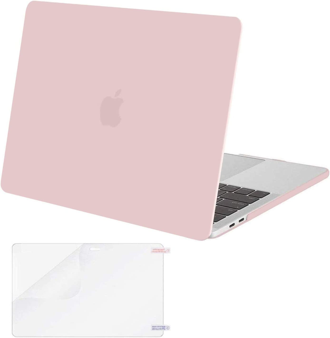 MOSISO MacBook Pro 13 inch Case 2019 2018 2017 2016 Release A2159 A1989 A1706 A1708, Plastic Hard Shell Case&Screen Protector Compatible with MacBook Pro 13 inch with/Without Touch Bar, Rose Quartz