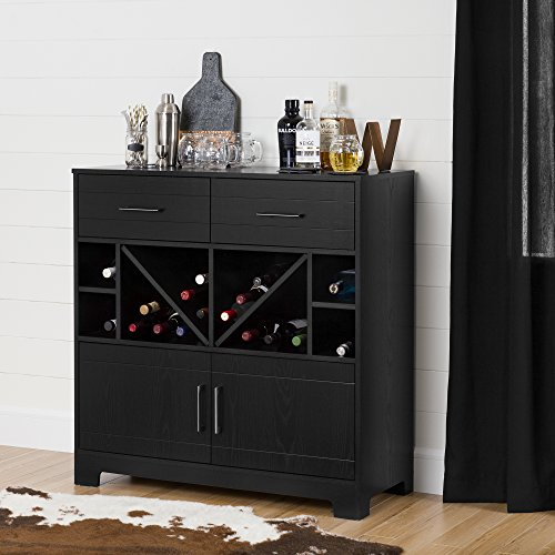 (South Shore Vietti Bar Cabinet with Liquor and Wine Bottle Storage with Drawers, Black Oak with Metal Handles)
