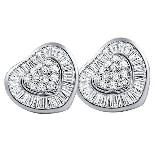 Rhodium Heart CZ Large Earrings with Channel Set (Baguette Heart Earrings)