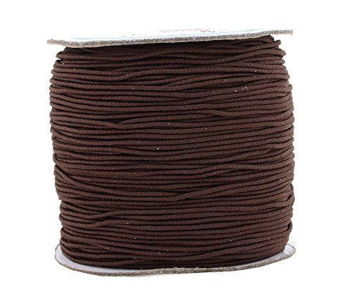 Cord Knot Stretch (Mandala Crafts 1mm 109 Yards Round Rubber Fabric Covered Elastic Cord, Stretch String for Beading, Jewelry Making, Masks, DIY Crafting (Brown))