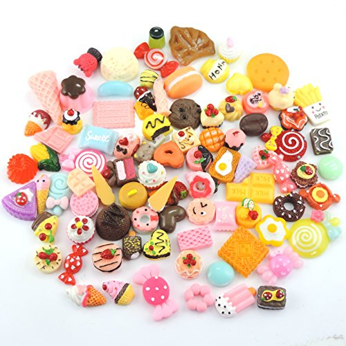 100pcs Mixed Candy & Cake Food Resin Cabochons Flatbacks Flat Back Buttons Scrapbooking for Craft Making (11274)