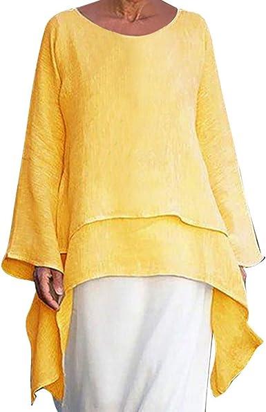 Camisa Mujer Túnicas O-cuelloTalla Extra Casual Asimetrica ...