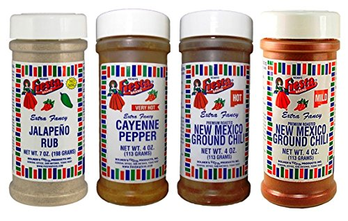 Bolner's Fiesta Mexican Seasoning 4 Flavor Variety Bundle, (1) Each: Jalapeno Rub, Cayenne Pepper, Mild New Mexico Chili, Hot New Mexico Chili, 4-7 Oz. Ea.
