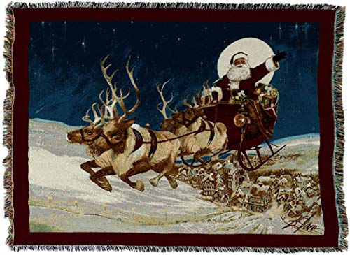 Pure Country Weavers - Merry Christmas To All Santa on his Sleigh at Night Woven Tapestry Throw Blanket with Fringe Cotton USA Size 72 x 54