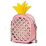 Ins Hollow Pineapple Shoulder Bag Explosive Leather Handbags,Pink-18.514.59cm