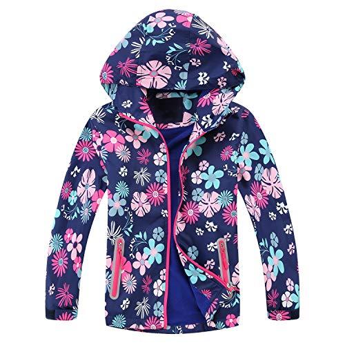 Echinodon Meisjesjas met fleecevoering, waterafstotend, winddicht, reflectoren, kinderovergangsjas, wandeljas…
