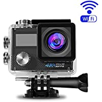 Action Camera, ACEHE Waterproof 4K Ultra HD 1080P WIFI Mini Sport Cam with 16MP 170 Degree Wide Angle, SONY IMX179 Sensor, 2.0 Inch LTPS Screen and Detachable Rechargeable Battery