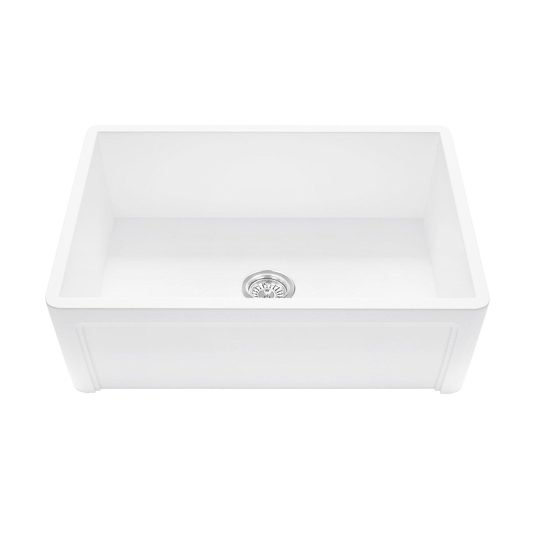 VIGO VGRA3018SL_PARENT VGRA3618SL Casement Front Matte Stone Farmhouse Kitchen Sink, 36'', Matte White by Vigo