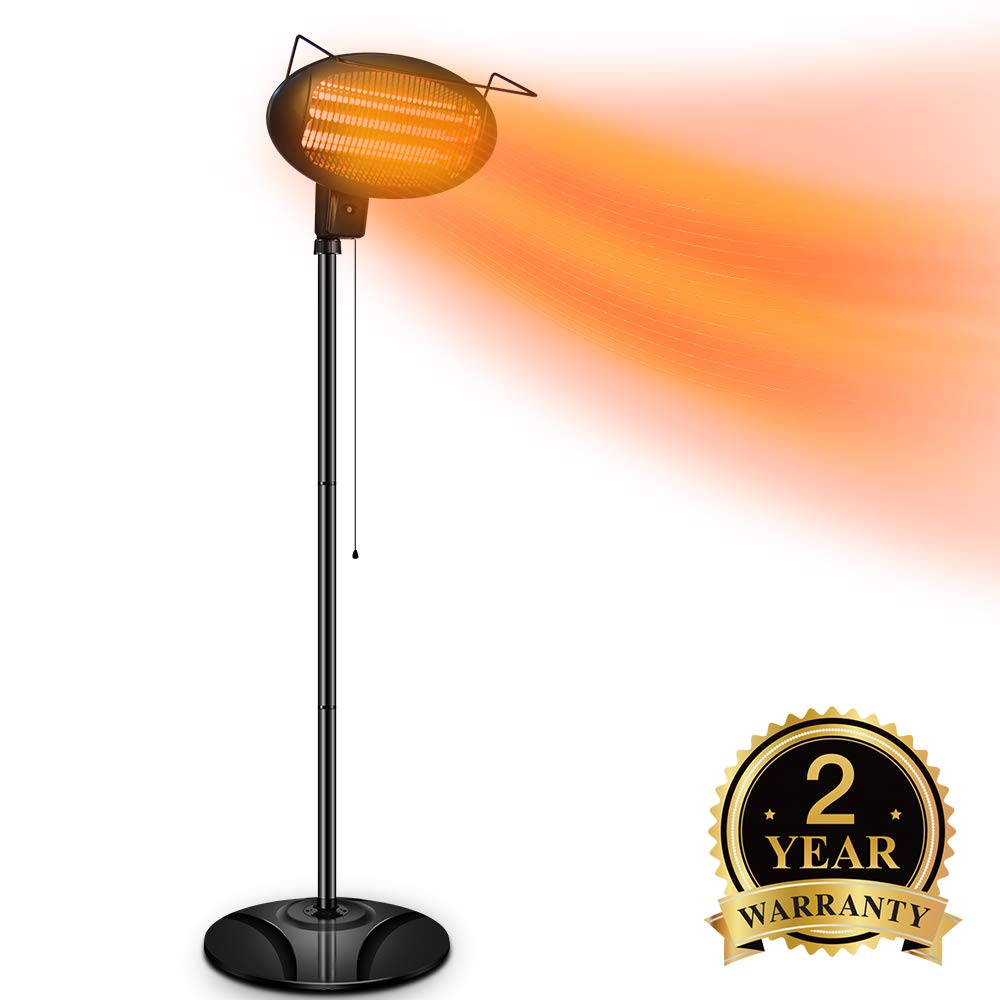 TRUSTECH Electric Outdoor Heater – Halogen Patio Heater, Waterproof Space Heater with 3 Power Levels for Patio, 500 1000 1500W, Courtyard, Garage Use, Overheat Protection, Tip-Over Shut Off