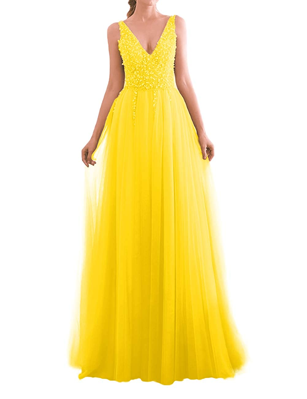 Yellow JAEDEN Prom Dress Long Evening Dresses for Party Tulle V Neck Prom Dresses Evening Gowns