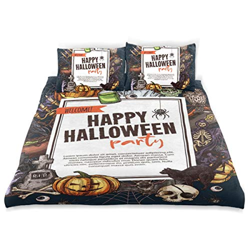BISHUO Halloween Monsters Party Poster Trick Treat Duvet Cover Set Design Bedding Decoration King 3 PC Sets 1 Duvets Covers with 2 Pillowcase Microfiber Bedding Set Bedroom Decor Accessories
