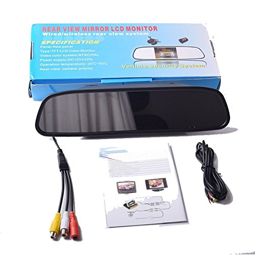 4.3 inch Car Video Monitor Auto Rear View Mirror LCD Screen 12V-24V Universal Mount Clip-On Current Mirror for Backup Camera/Front Camera/Media Player/Safety Driving 2 Ways RCA Input