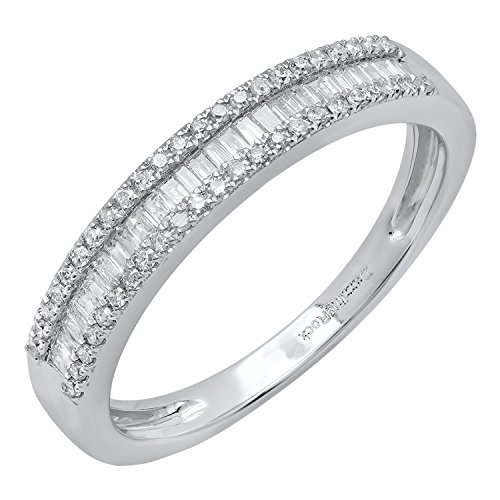 0.30 Carat (ctw) 10K White Gold Round & Baguette Diamond Ladies Wedding Band 1/3 CT (Size (Baguette Anniversary Band)