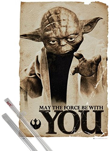 Poster + Hanger: Star Wars Poster (36x24 inches) Yoda, May The Force Be With You and 1 set of 1art1® Poster Hangers