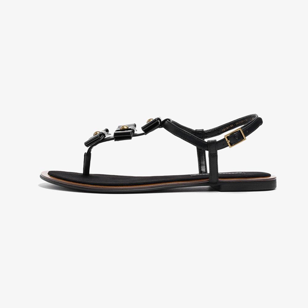 YQQ Nette Flache Schuhe Der Bogenspitze Frühlings- Und Sommerschuhe Frauen Schuhe Dame Mädchen Frau Flip Flops Sandaleen Gemütlich Lässige Schuhe (Farbe : SCHWARZ, größe : EU37/Uk4.5-5)